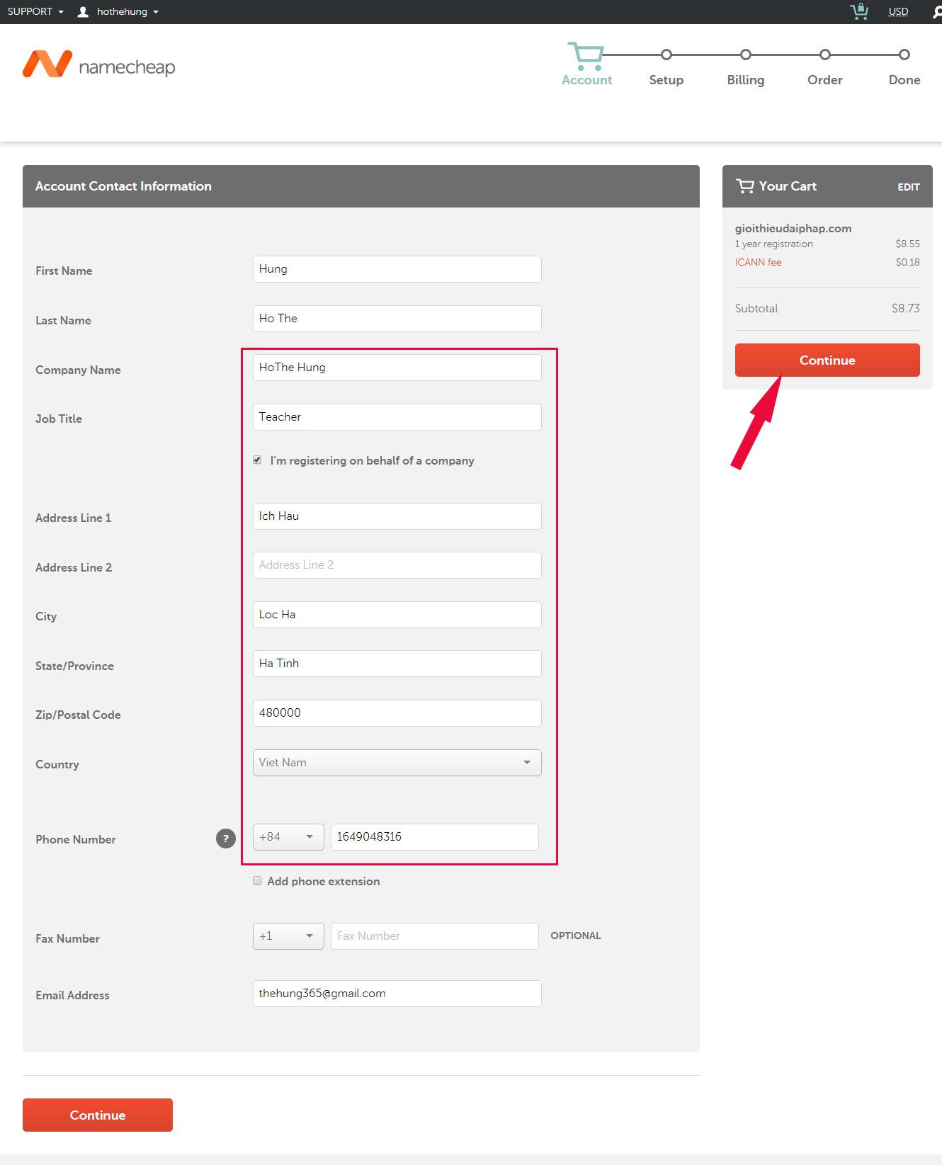 Hướng dẫn đăng ký tên miền .COM tại NameCheap năm 2018