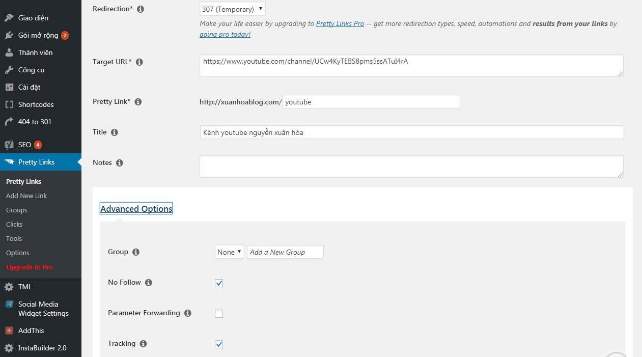 Hướng dẫn sử dụng plugin Pretty Link làm đẹp link affiliate
