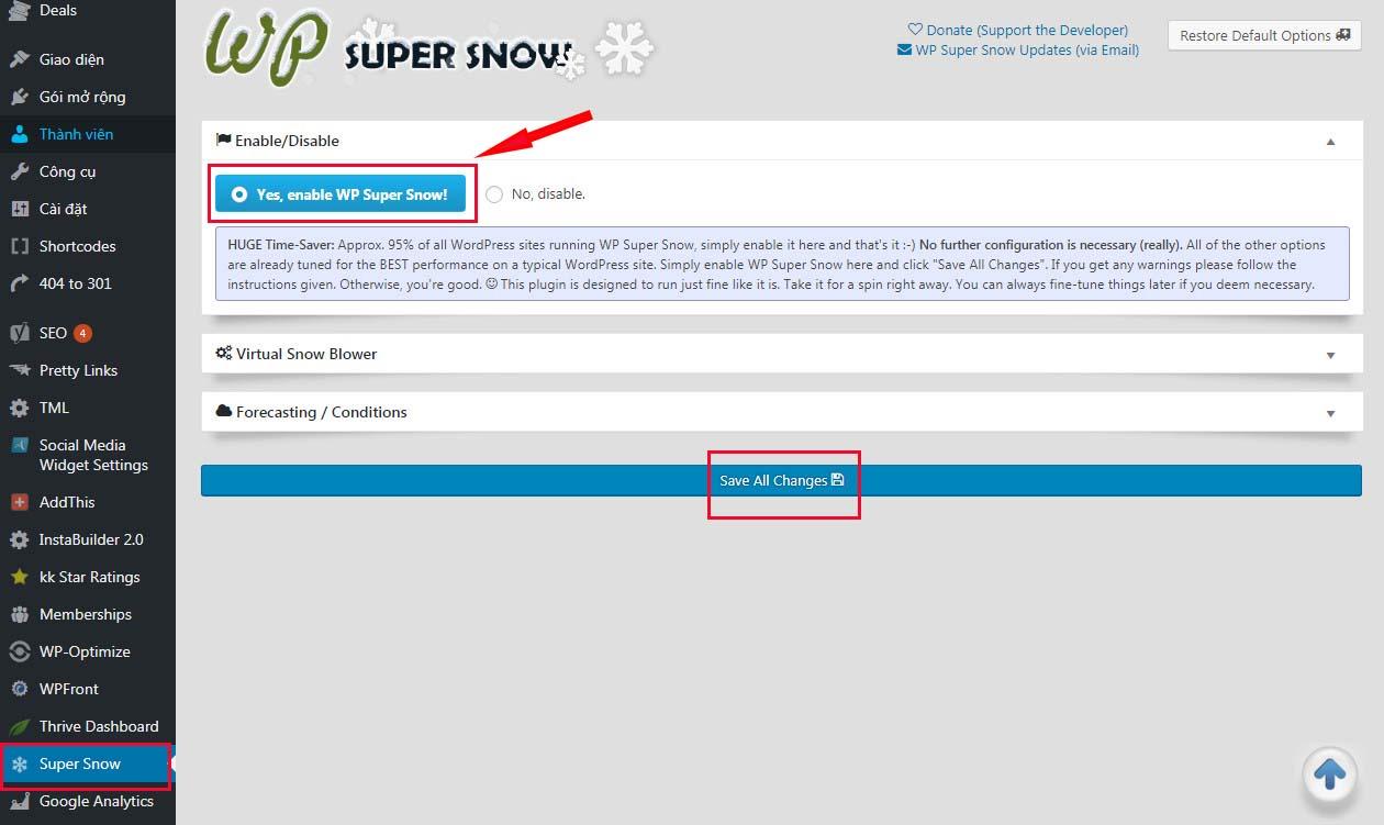 Tạo ứng tuyết rơi vào blog WordPress của bạn!