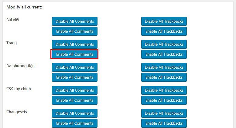 Cách bật bình luận cho Page trên WordPress