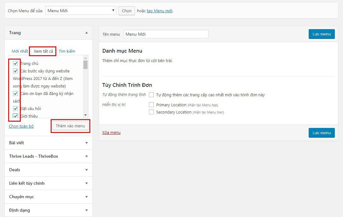 Hướng dẫn cách tạo Menu trong website WordPress