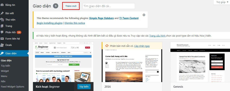 Hướng dẫn cài đặt theme (giao diện) cho website WordPress