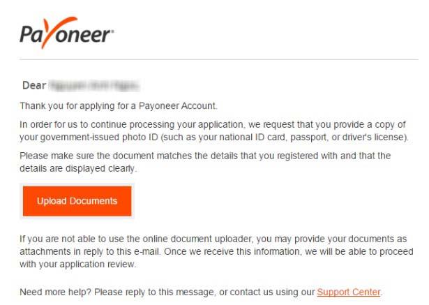 Hướng dẫn đăng ký Payoneer