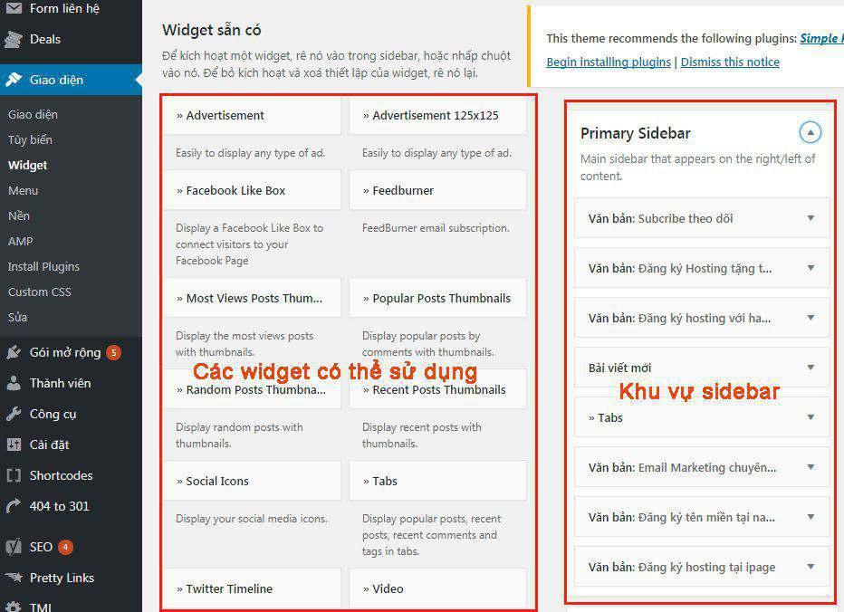 Hướng dẫn sử dụng Widget trong WordPress