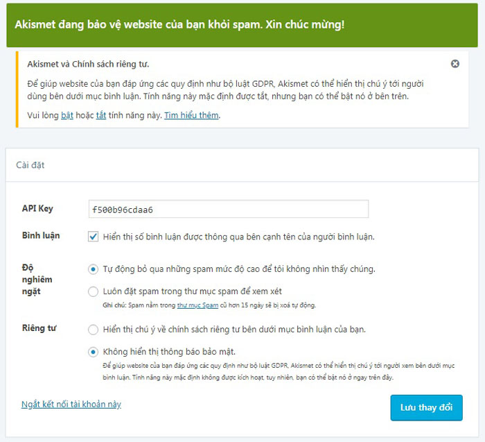 Chống spam WordPress comment bằng plugin Akismet