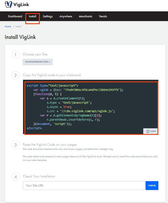 Hướng dẫn đăng ký Viglink