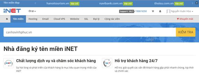 Đăng ký tên miền tại iNet
