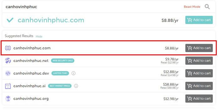 đăng ký tên miền tại NAMECHEAP